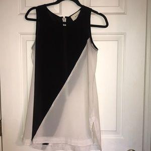 black and white color block slip dress